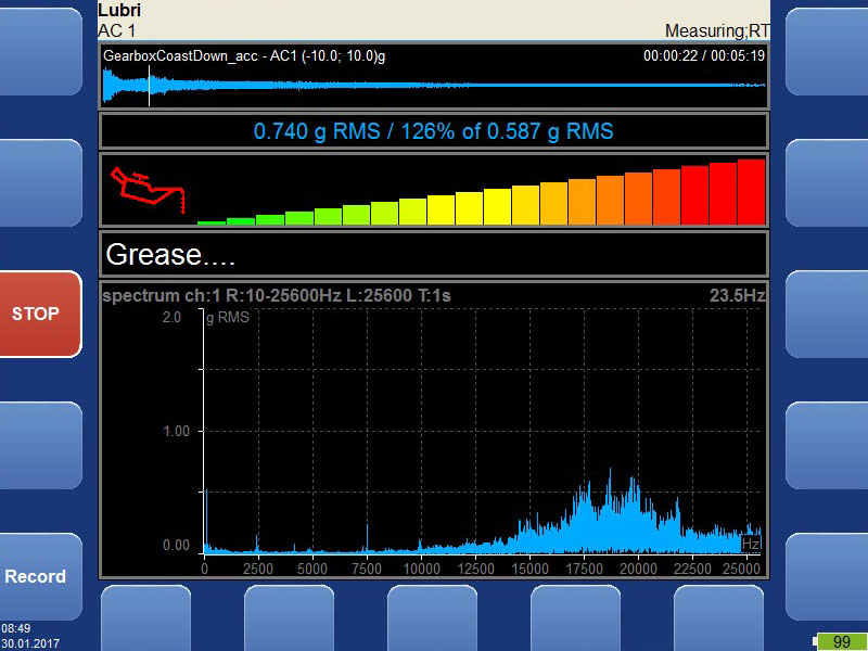 Vibration analyzer - fasit mode screen